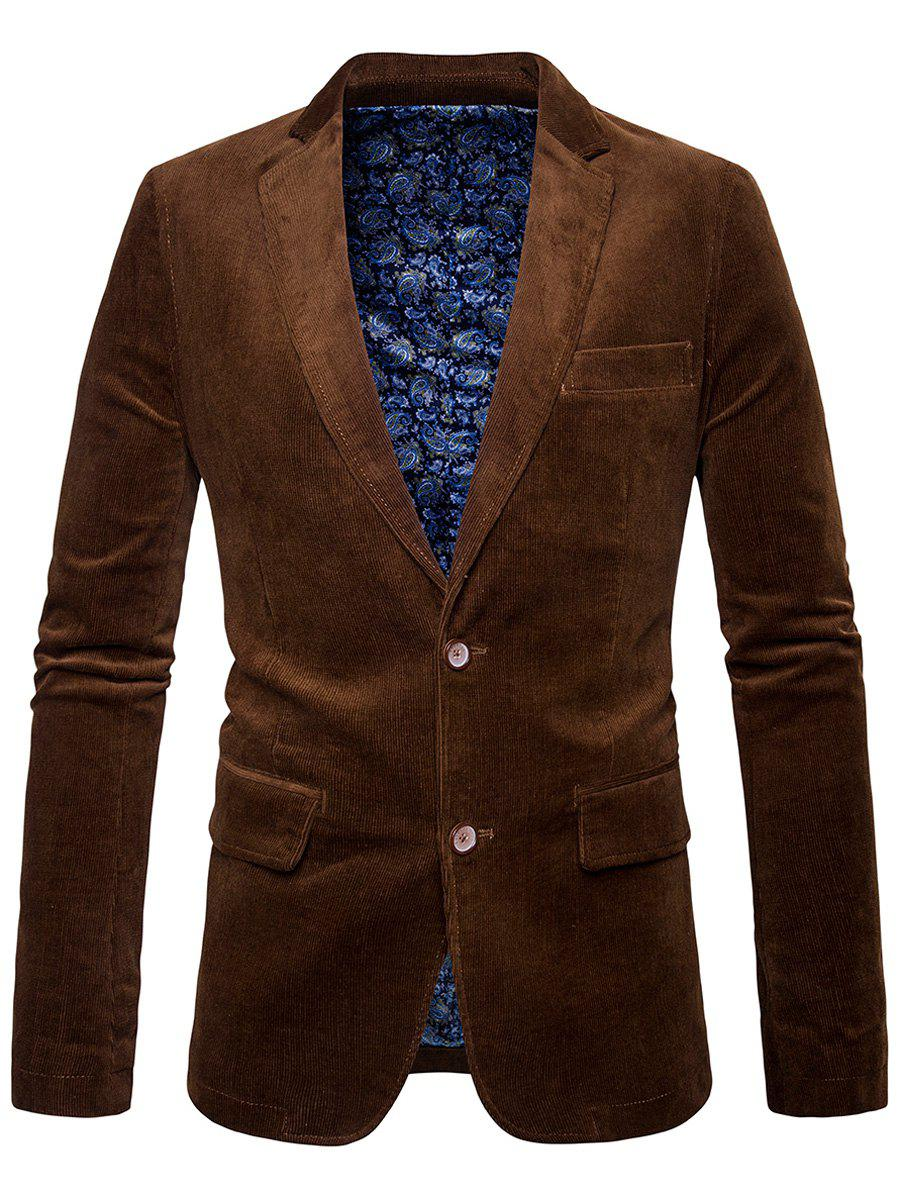 Lapel Collier Elbow Patch Corduroy Blazer - Brun M