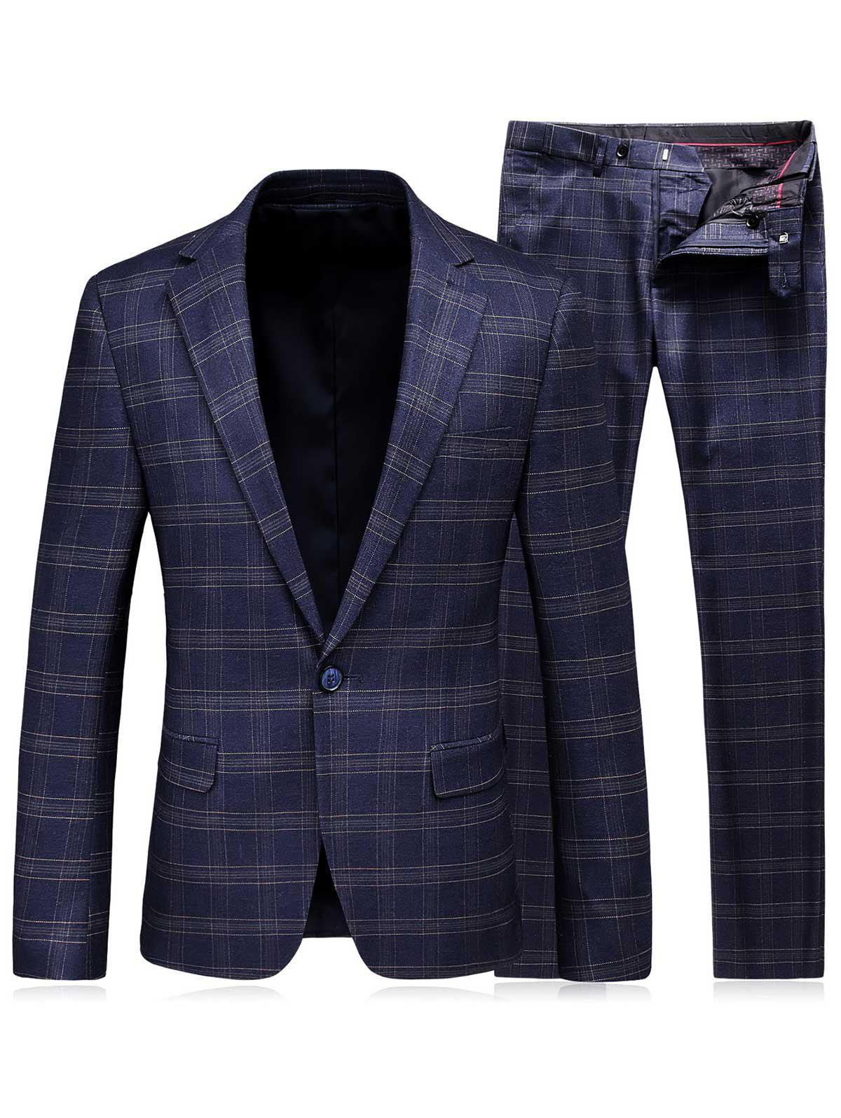 Lapel Tartan One Button Blazer and Pants Twinset - Bleu 3XL