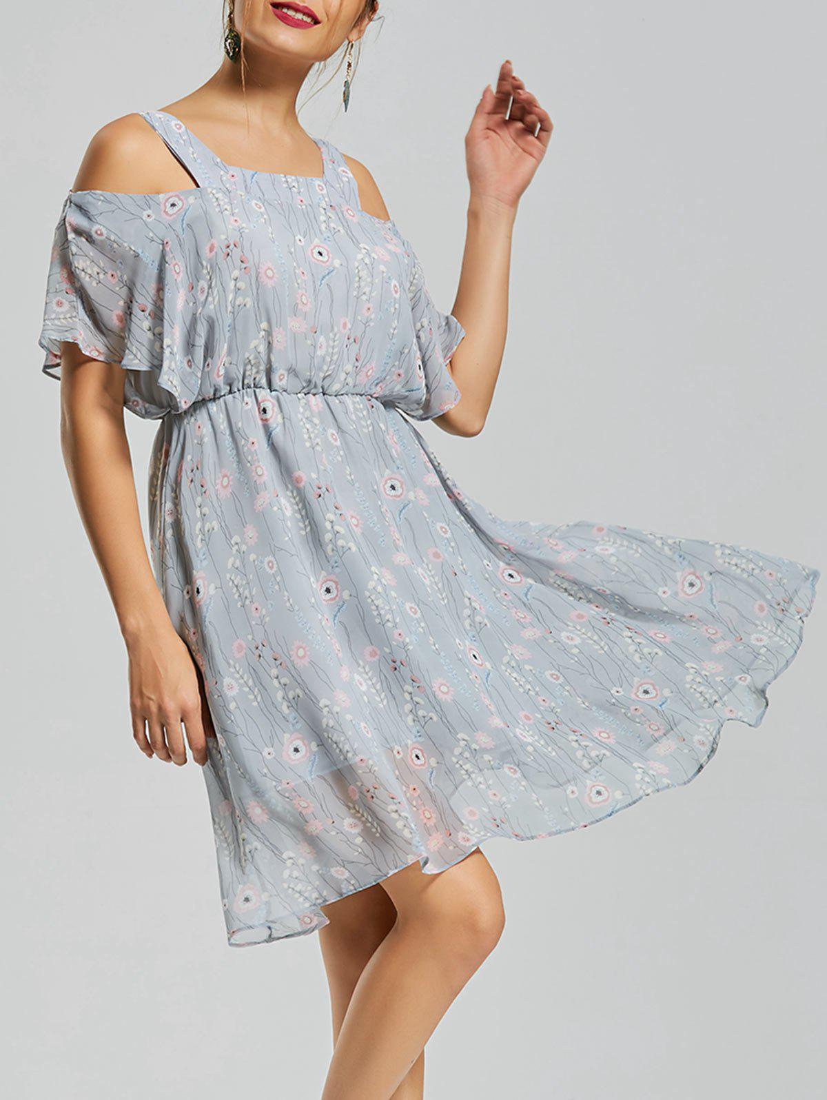 Floral Print Cold Shoulder Dress - BLUE M