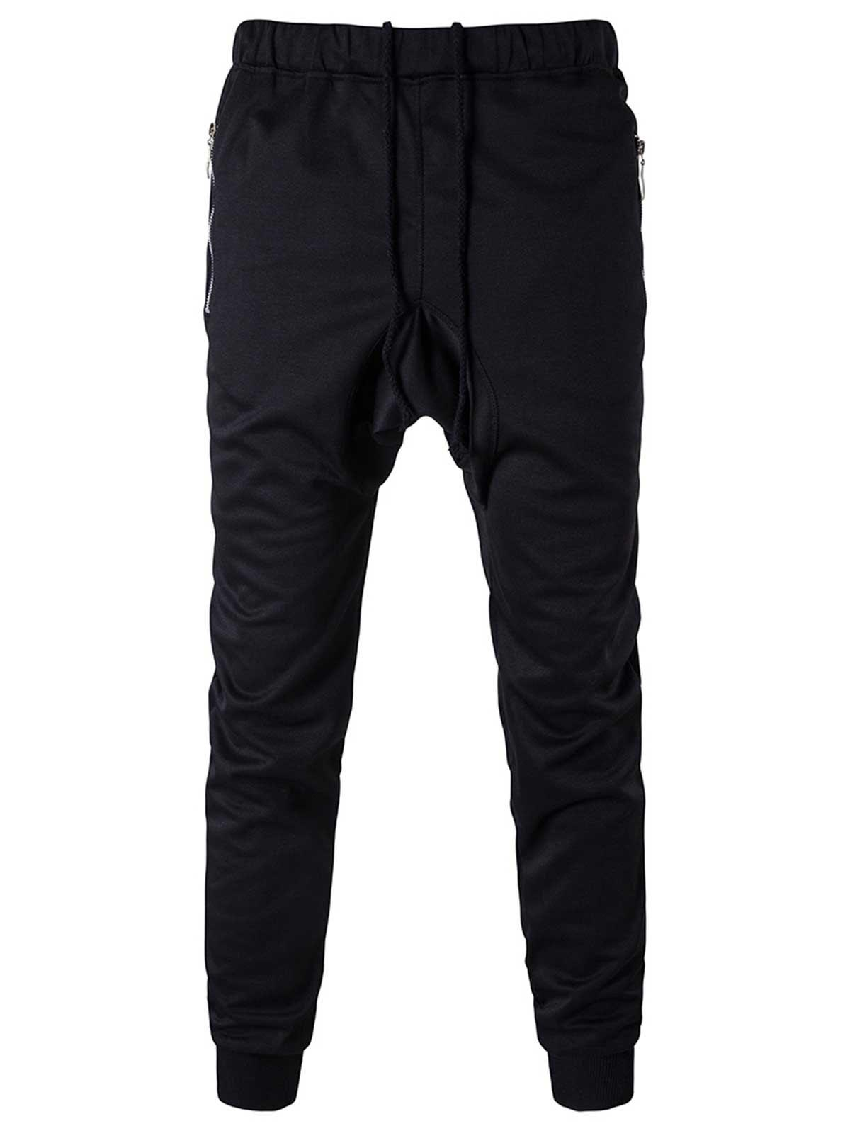 Zipper Pocket Drop Crotch Drawstring Jogger Pants single pocket back drop crotch wrap pants