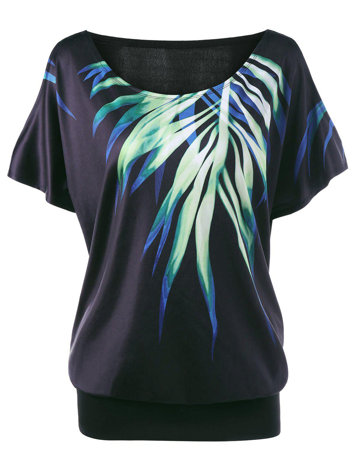 Plus Size Leaf Printed Cold Shoulder T-shirt - BLACK 3XL