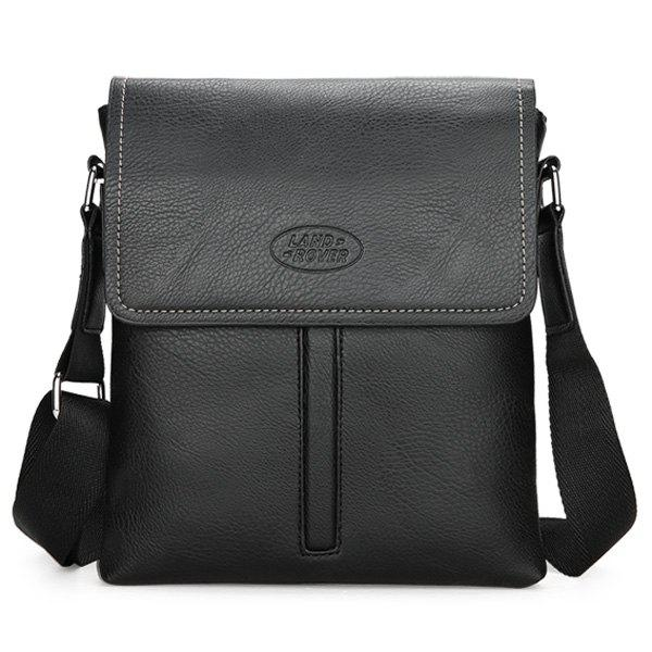 Flap PU Leather Crossbody Bag - BLACK