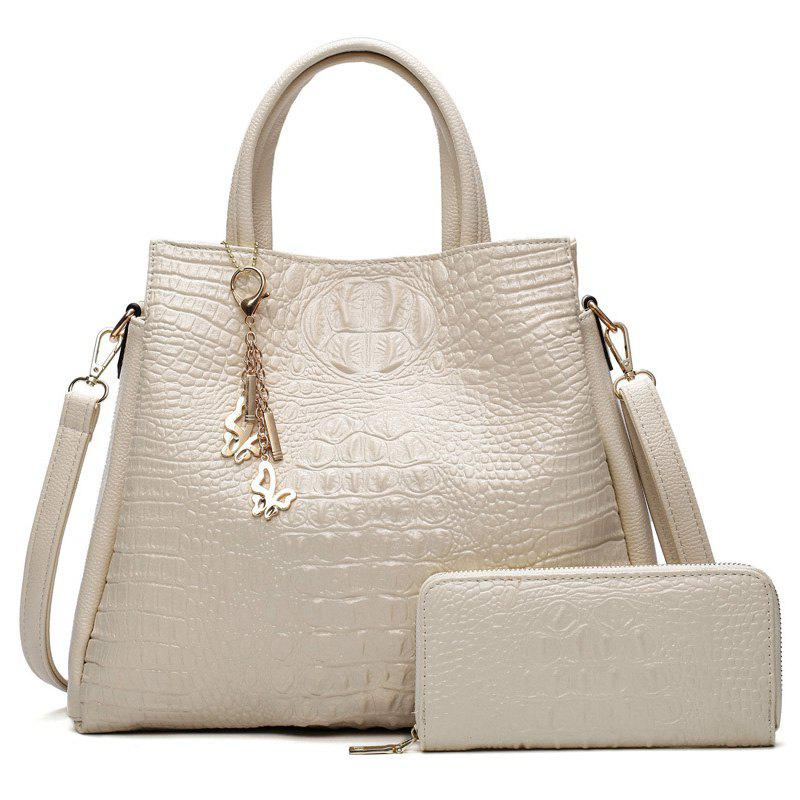 Crocodile Embossed Wallet and Handbag - WHITE