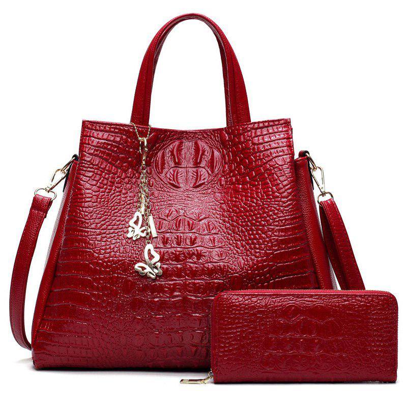 Crocodile Embossed Wallet and Handbag - RED