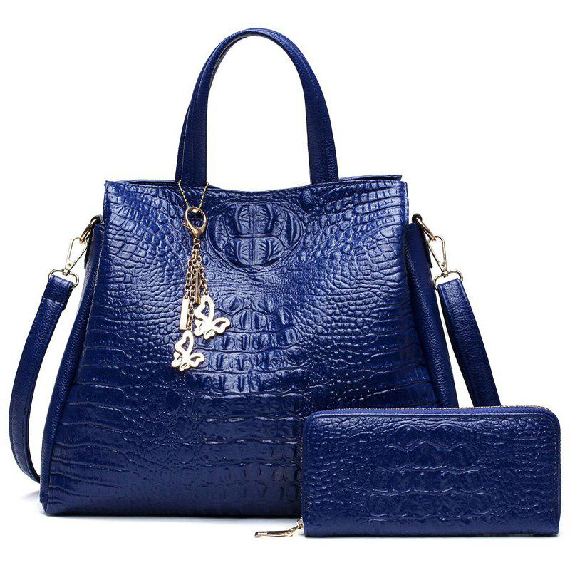 Crocodile Embossed Wallet and Handbag - BLUE