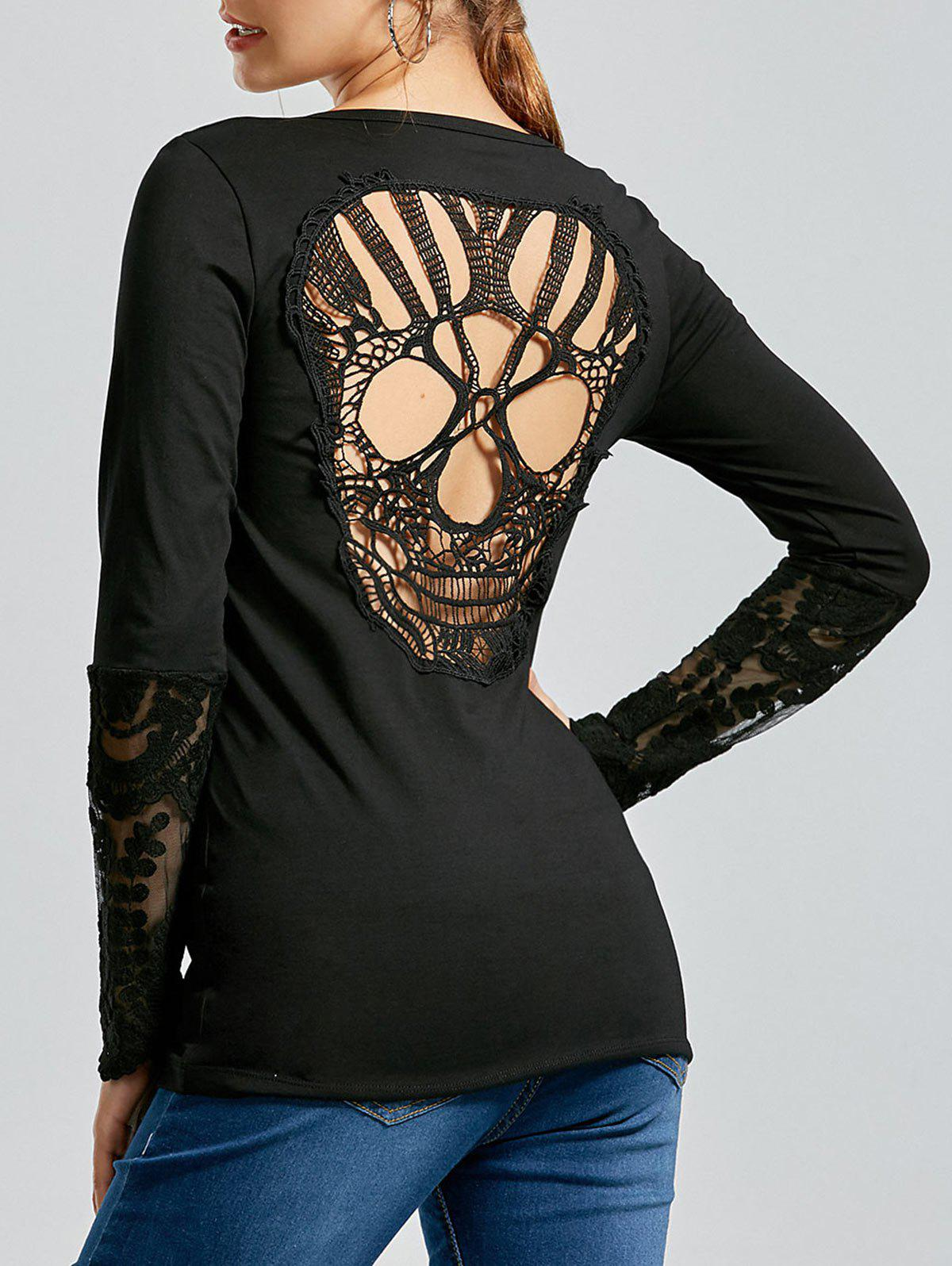 Back Skulls Lace Panel Long Sleeve T-shirt 216429502