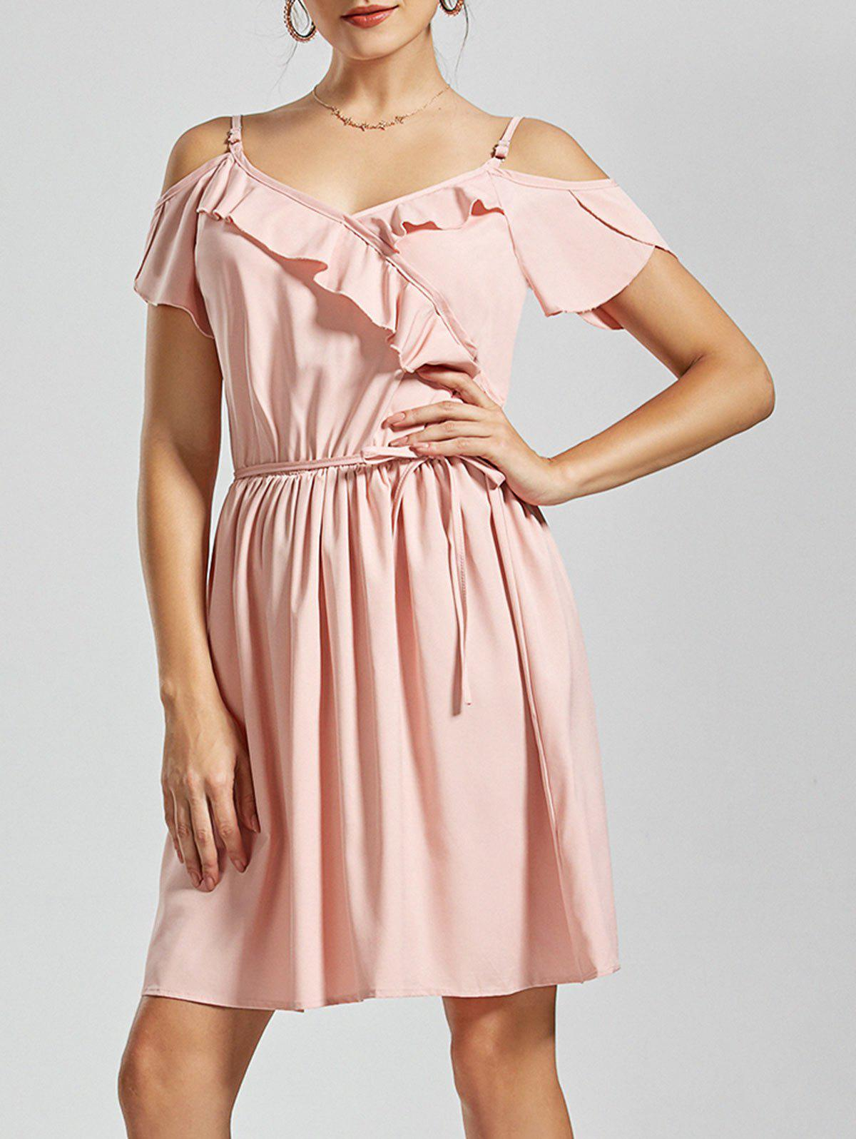 Flounce Spaghetti Straps Dress - ROSE PÂLE L
