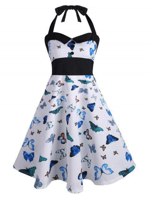 3bfdb8351d LIMITED OFFER  2019 Vintage Halter Butterfly Print Pin Up Dress In ...