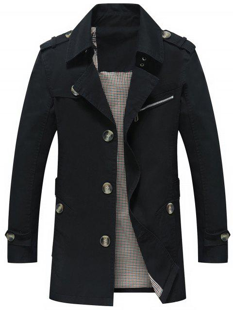 Slim Fit Button Up Lapel Coat - Noir XL