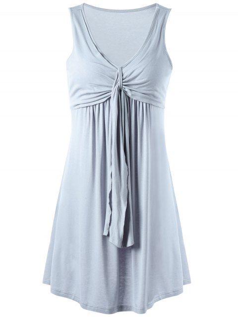 Overlay Drape Front Tank Dress - BLUE GRAY M