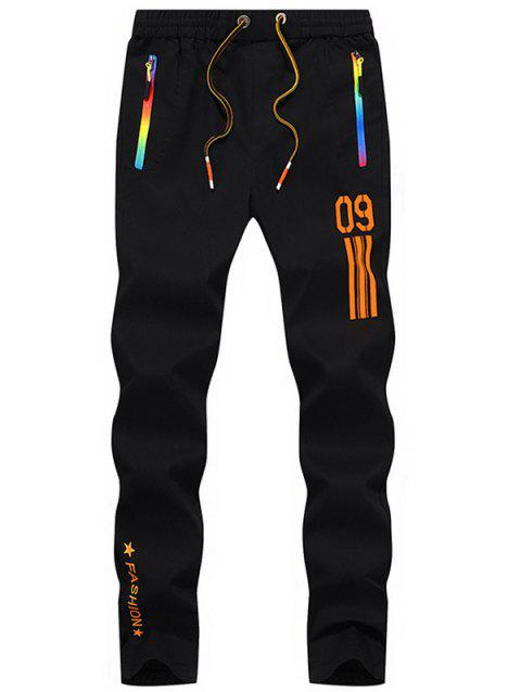 Number Printed Drawstring Sport Pants - ORANGE 36