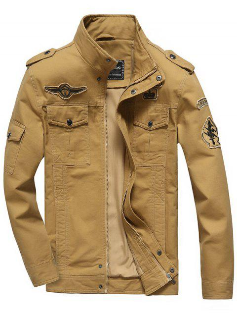 Embroidery Patch Snap Button Design Jacket - KHAKI M