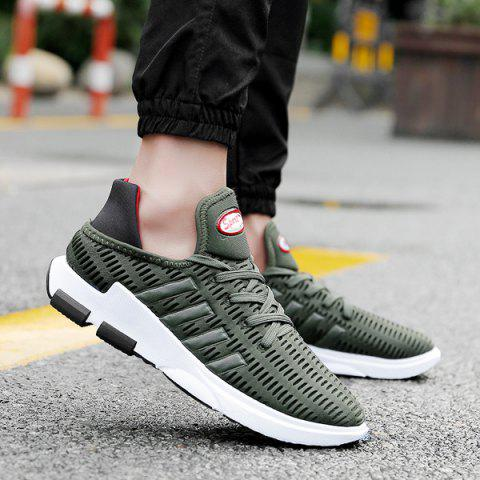 Breathable Lace Up Mesh Athletic Shoes - ARMY GREEN 41