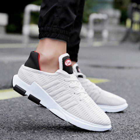 Breathable Lace Up Mesh Athletic Shoes - WHITE 43