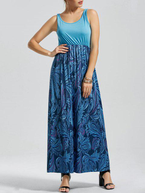 Print Floor Length Tank Dress - BLUE M