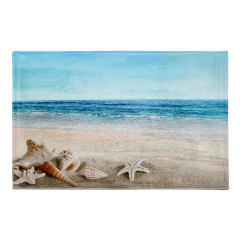 Coral Fleece Beach Scenery Soft Area Rug - COLORMIX W16 INCH * L24 INCH