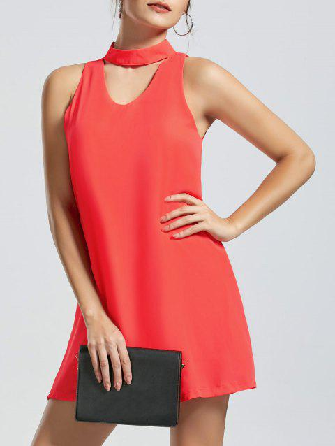 Sleeveless Mini Choker Dress - ORANGE RED XL