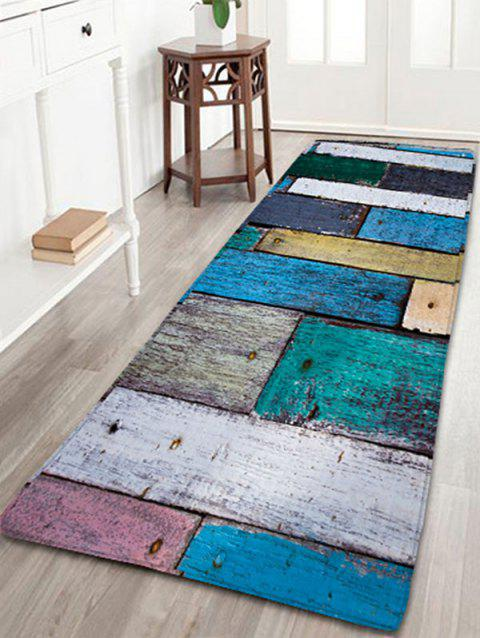 Plaid Wood Grain Flannel Skidproof Bath Rug - COLORMIX W16 INCH * L47 INCH
