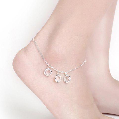Faux Crystal Round Charm Chain Anklet - SILVER