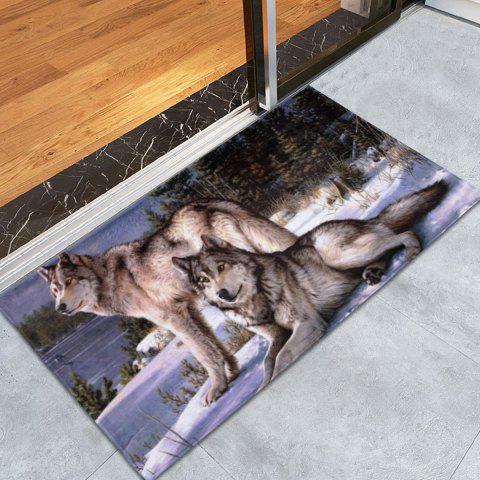 Coral Fleece Wolf Animal Large Area Rug - COLORMIX W24 INCH * L35.5 INCH