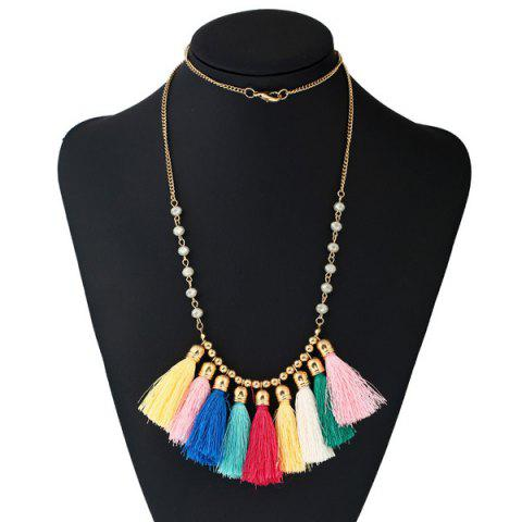 Bohemian Tassel Beaded Charm Necklace - COLORMIX