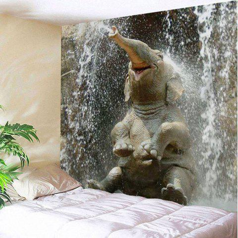 Elephant Spray Water Tapestry Wall Hangings - TAUPE W51 INCH * L59 INCH