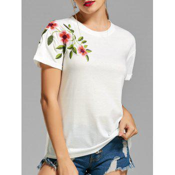 Flower Embroidered Cuff T-shirt