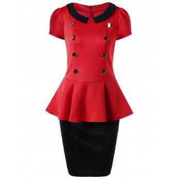 Peplum Top and Tube Midi Suit Skirt