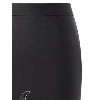 Octopus Print Tube Midi Skirt - BLACK L