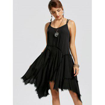 Fringe Asymmetric Slip Dress - L L