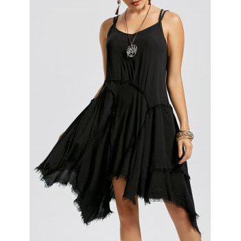 Fringe Asymmetric Slip Dress - BLACK XL