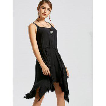 Fringe Asymmetric Slip Dress - XL XL