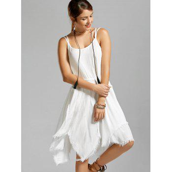 Fringe Asymmetric Slip Dress - S S