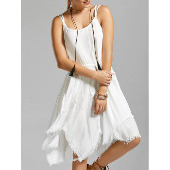 Fringe Asymmetric Slip Dress - WHITE S