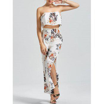 Floral Print Bandeau  Top with Wide Leg Pants