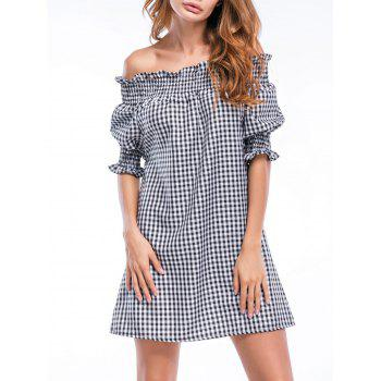 Off The Shoulder Checked Ruffles Straight Dress