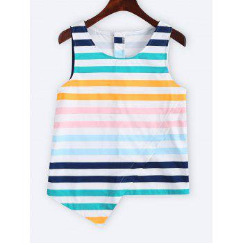 Color Block Striped Asymmetric Tank Top