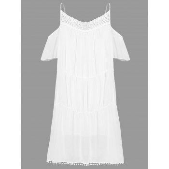 Stylish White Off The Shoulder Spaghetti Strap With Lace Women's Dress - WHITE L