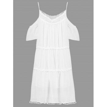 Stylish White Off The Shoulder Spaghetti Strap With Lace Women's Dress - L L