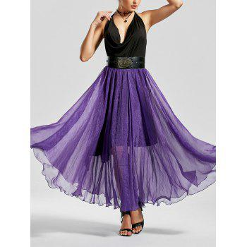 See Through A Line Chiffon Long Skirt