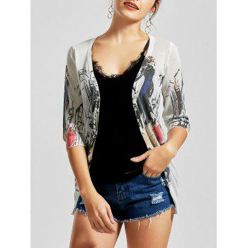 Graphic V Neck Button Up Cardigan