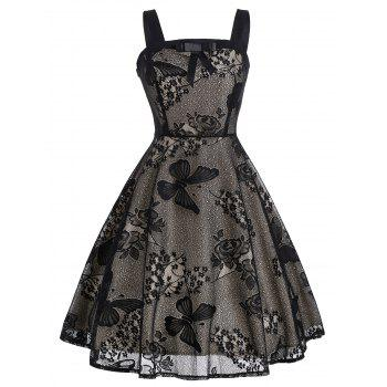 Vintage Bowknot Embellished Butterfly Floral Dress