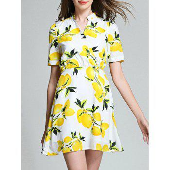 High Waist Lemon Print Blouse Dress