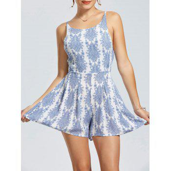 Sleeveless Cut Out Back Print Romper