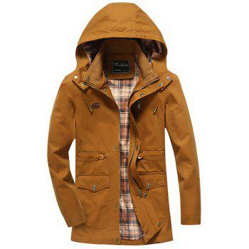 Zipper Fly Snap Button Design Hooded Coat