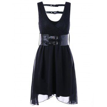 Plunging Neck Sleeveless Surplice Dress with Belt