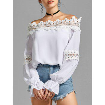 Off the Shoulder Bell Sleeve Lace Panel Blouse