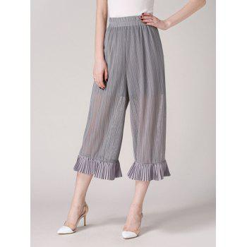 See Through Wide Leg Pants with Ruffles
