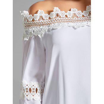Off the Shoulder Bell Sleeve Lace Panel Blouse - WHITE XL