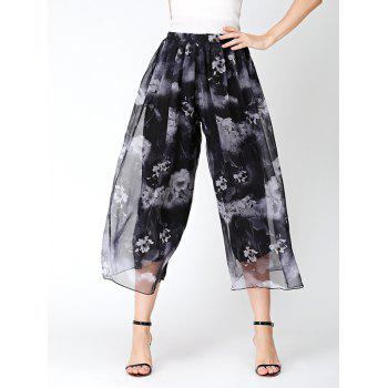 Flower Print Slit Chiffon Wide Leg Pants